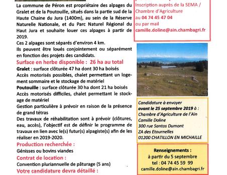 Annonce de la Chambre d'Agriculture de l'Ain – ALPAGE A LOUER