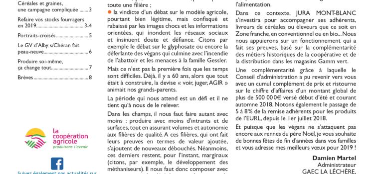 Lettre aux adhérents n°28 janvier 2019